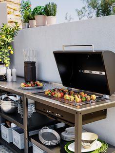 Simple Outdoor Kitchen, Outdoor Kitchen Design, Small Outdoor Kitchens, Patio Kitchen, Outdoor Kitchen Grill, Outdoor Kitchen Cabinets, Outdoor Cooking Area, Outdoor Grill Area, Diy Bbq Area