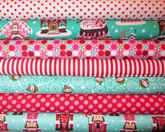 7 Fat Quarters Gingerbread Houses, Nutcrackers, Peppermints  Michael Miller Holiday Fabric 19.25 + shipping