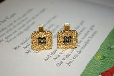 Fine Vintage Large 14k Yellow Gold Nugget Black Sapphire Cuff Links 26.9 Grams! by StateofVintage on Etsy