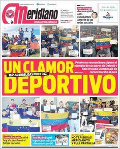 """""""Cuando el deporte se mete en la política: primera plana de hoy del diario Meridiano pic.twitter.com/8yJOzSgbkL"""" #CalleSinRetorno #ReCivilVnzla"""""""