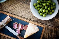 Cheese, chorizo, olives