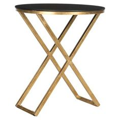 It would be so simple to update end tables with a metallic paint...pretty black and gold side table - target