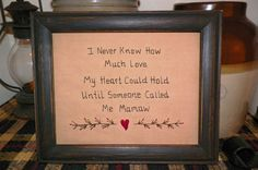 Primitive Sampler Stitchery Picture New Grandmother by wvluckygirl, $13.99
