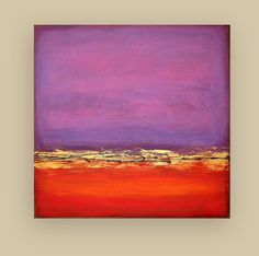 """Acrylic Abstract Original Painting on Canvas Red and Purple Titled: Red Dawn 9 36x36x1.5"""" by Ora Birenbaum"""