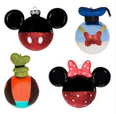 Mickey & Minnie Mouse, Donald Duck, and Goofy Tree Ornaments