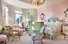 Traditional Bedroom by Mario Buatta in Palm Beach, Florida Home Bedroom, Bedroom Decor, Master Bedroom, Floral Bedroom, Bedroom Ideas, Room Inspiration, Design Inspiration, Mario Buatta, English Manor Houses