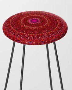 Red Jungle Mandala Counter Stool by David Zydd Extra Tall Bar Stools, Flower Mandala, Mandala Coloring, Counter Stools, Sacred Geometry, Christmas Gifts, Xmas, Kitchen Decor, Floral Design
