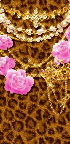 Wallpaper by artist unknown Leopard Wallpaper, Bling Wallpaper, Queens Wallpaper, Animal Print Wallpaper, Pattern Wallpaper, Wallpaper Backgrounds, Wallpapers, Heart Iphone Wallpaper, Cellphone Wallpaper