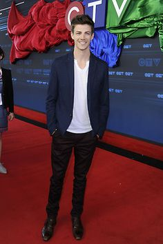Actor Grant Gustin (with Candice Patton, Danielle Panabaker and Tom Cavanagh) of The Flash attend the CTV 2014 Upfront at Sony Centre for the Performing Arts on June 5, 2014 in Toronto, Canada.