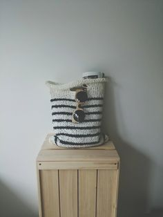Summer In the City Striped Knitted Bag by GlommaKnitwear on Etsy