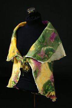 Nuno felted silk chiffon and merino wool vest  Hawaii by TioliGirl, $285.00