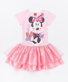 Look what I found on #zulily! Minnie Mouse Icy Pink Skirted Dress - Girls #zulilyfinds
