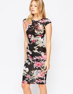 Club L Cap Sleeve Midi Dress in Floral Parrot Print