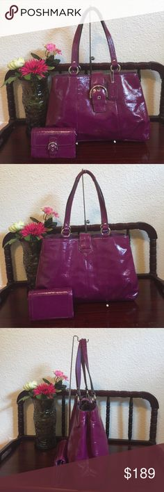 "Coach soho signature shoulder bag & wallet 9711,color:plum with silvertone hardware  The lined interiors feature (3) main compartments.The center zips shut and a flap with the SOHO style buckle and magnetic snap secures all three .:There's a zippered pocket inside & two slip pockets. ,Inverted pleats on both the front and back near the bottom,  protective 'feet' on the bottom. Measures:15"" (L) x 9.5"" (H) x 4.75"" (W). Strap drop 8.5"" used with tiny penmark.good condition,smoke & pet free 100%…"
