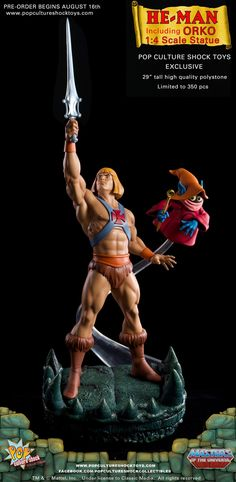 He-Man N' Orko - Masters of the Universe - Sculpted by John Cleary for Pop Culture Shock. Comic Movies, Comic Books Art, Robert E Howard, Master Of The Universe, Pop Culture Shock, Bishoujo Statue, Sword And Sorcery, Princess Of Power, Figure Model