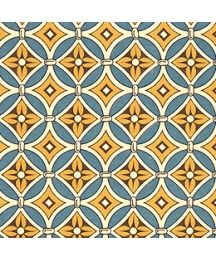 Teal and Mustard Yellow Floral Tile Print Italian Paper ~ Carta Varese Italy