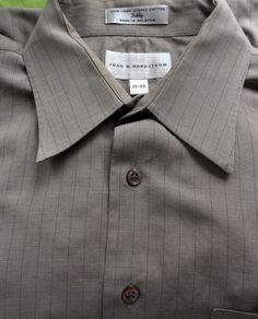 Men s John W Nordstrom 17-33 100% Long Staple Cotton Dubby Dress Shirt Tan e6181c363ab