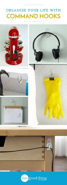 Damage-free hooks and hanging strips aren't just for dorm rooms! Check out these 21 ways to get organized around the house - without single nail or screw!