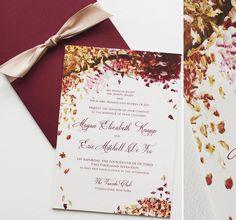 Autumn leaves falling for this lovely invitation.  #momentaldesigns  #kristyrice  #handpaintedinvite  #artisticinvite