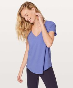 801c43d91f07b Blue Hydrangea, V Neck Tee, Lululemon, Cotton Fabric, Cotton Textile. lulu  fanatics