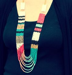 Tribal Multistrand Seed Bead Necklace: The rich flowing colors of this multistrand necklace pattern make for a river of bright colors that are sure to dazzle.