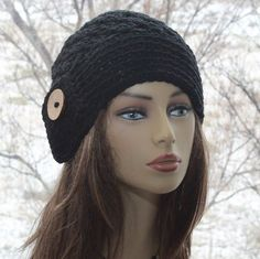 Check out this item in my Etsy shop https://www.etsy.com/listing/494820773/crochet-black-hat-coconut-button-beanie