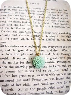The Cordelia Delicate Creamy Green Flower Necklace - $15