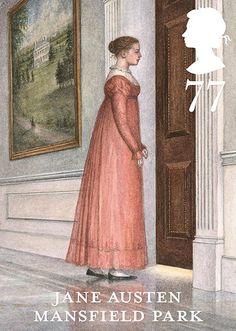 """Selo comemorativo dos 200 anos de """"Orgulho e preconceito"""" de Jane Austen. São 6 modelos, um para cada romance da escritora. Este é o de """"Mansfield Park""""."""