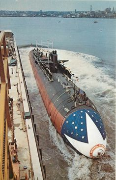 Vintage Postcard, Nuclear Attack Submarine USS Omaha Christening, Thames River