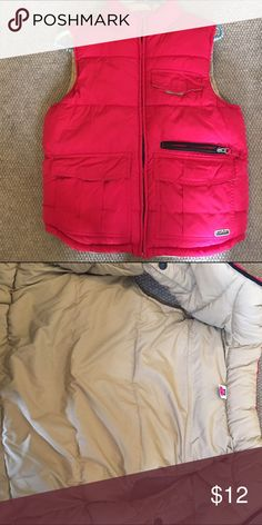 Gap reversible puffer vest This is a Gap brand thick puffer vest it is reversible and has red with tan color.  Size 6/7. It is in good condition GAP Jackets & Coats Vests