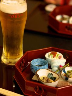 Japanese appetizer and beer