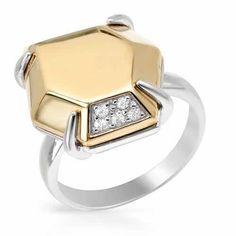 Wonderful ring with genuine topazes well made in 14K / 925 gold plated silver. Total item weight 8.5g . Size 7. Gemstone info: 5 topazes, 0.09ctw., with round shape and white color.