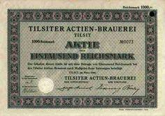 Tilsiter Actien Brauerei  100 RM 1940