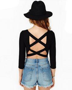 Sexy backless hollow cross black t shirt for women half sleeve top -
