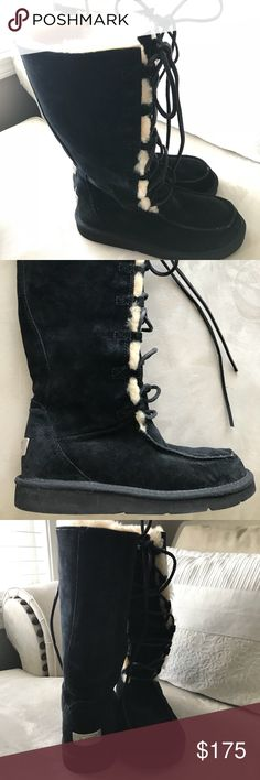 """Like New Leather and Sheepskin Ugg Boots Size 8 Size 8 Women's, Black. Still look, feel, and smell new! Beautifully styled with black leather lace ups. Cozy, lush sheepskin lining. No wear down on the soles, no rips, stains, or damages. Beautiful boots that I never got to wear much and would rather see them go to a better home than in my closet! Only worn 2-3 times with socks on. These may be somewhat """"vintage"""" haha...Purchased circa 2003. UGG Shoes Winter & Rain Boots"""