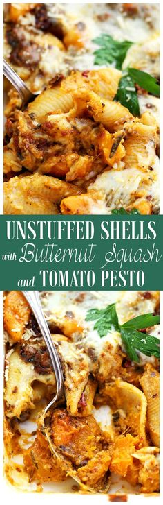 Unstuffed Shells with Butternut Squash and Tomato Pesto   www.diethood.com   Saucy, creamy, delicious unstuffed pasta shells with butternut squash and tomato pesto.