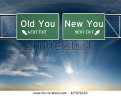 New you, old you. Sign's depicting a choice in your life - stock photo