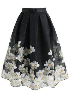 Falling Gardenia Grid Organza Midi Skirt in Black- New Arrivals - Retro, Indie and Unique Fashion