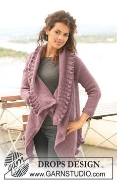 "DROPS 126-35 - Knitted DROPS jacket in ""Alpaca"" and ""Vivaldi"" with flounces. Size S to XXXL - Free pattern by DROPS Design"