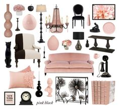 """""""pink and black"""" by crystalliora on Polyvore featuring interior, interiors, interior design, home, home decor, interior decorating, Kathy Ireland, Bernhardt, Global Views and Innermost"""