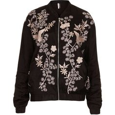 TOPSHOP Flower Embroided Bomber Jacket ($55) ❤ liked on Polyvore featuring outerwear, jackets, coats & jackets, bomber jacket, topshop, black, black jacket, blouson jacket, black flight jacket and bomber style jacket