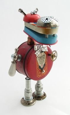 """""""Hippobotamus"""" - found object sculpture ...no maker given, but it looks like it is from Fobots (Amy Flynn)"""