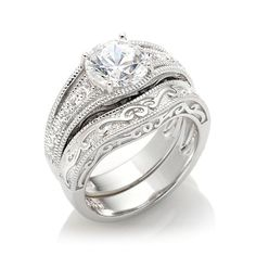 Xavier 2.23ct Absolute™ Engraved 2-Piece Ring Set I want this in a size 7. :)