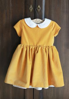 Mustard Velveteen Patsy Dress - Bespoke by Elizabeth Larson
