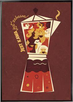 plakatowisko - polskie plakaty Art Deco Posters, Cool Posters, Vintage Posters, Poster Prints, Polish Posters, Coffee Poster, Ipad Art, Retro Illustration, Art Deco Period