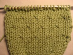 "#Knitting #Tutorial - Variation on the Simple Seed Stitch. The ""seeds"" are spaced 3 stitches and 2 rows apart for a subtle edge to stockinette stitch. Very nice!"