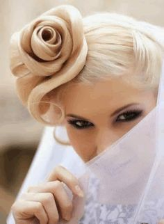 GIF Creative Hairstyles, Up Hairstyles, Pretty Hairstyles, Wedding Hairstyles, Rose Hairstyle, Hair Updo, Bridal Hairstyle, Wedding Updo, Wedding Bride