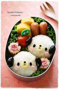 Black bean onigiri dog bento box (includes how-to! Japanese Bento Box, Japanese Food Art, Japanese Dishes, Bento Box Lunch For Kids, Cute Bento Boxes, Lunch Box, Kawaii Bento, Bento Recipes, Baby Food Recipes