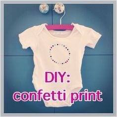 DIY: confetti print op romper of shirt - Leuk met kids Diy Confetti, Diy For Kids, Diys, Rompers, Diy Crafts, Sewing, Prints, T Shirt, Outfits