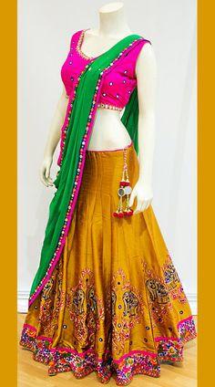 Elephant Work Pink And Yellow Tafetta Silk Lehenga Choli Half Saree Lehenga, Lehnga Dress, Lehenga Choli Online, Indian Lehenga, Sari, Lengha Choli, Sharara, Half Saree Designs, Choli Designs